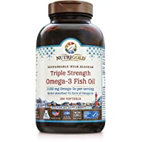 Nutrigold Triple Strength Omega-3 Fish Oil Supplement, Better Absorbed TG Form,...