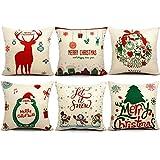 6 packs christmas pillows covers 18 x 18 christmas dcor santa claus pillow covers christmas decorative throw pillow case sofa home dcor