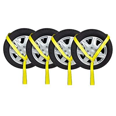 "Mytee Products 2"" x12' Winch Lasso Strap w/O Ring Auto Tow Tie Down Wheel Net (4 - Pack): Automotive"