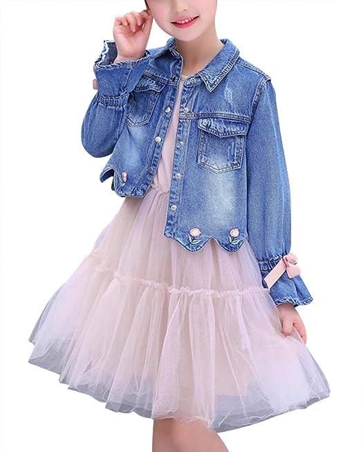 Chaquetas Conjunto Niñas Manga Larga, Chaqueta Vaqueros, Vestido De Fiesta De Tul Pink 160