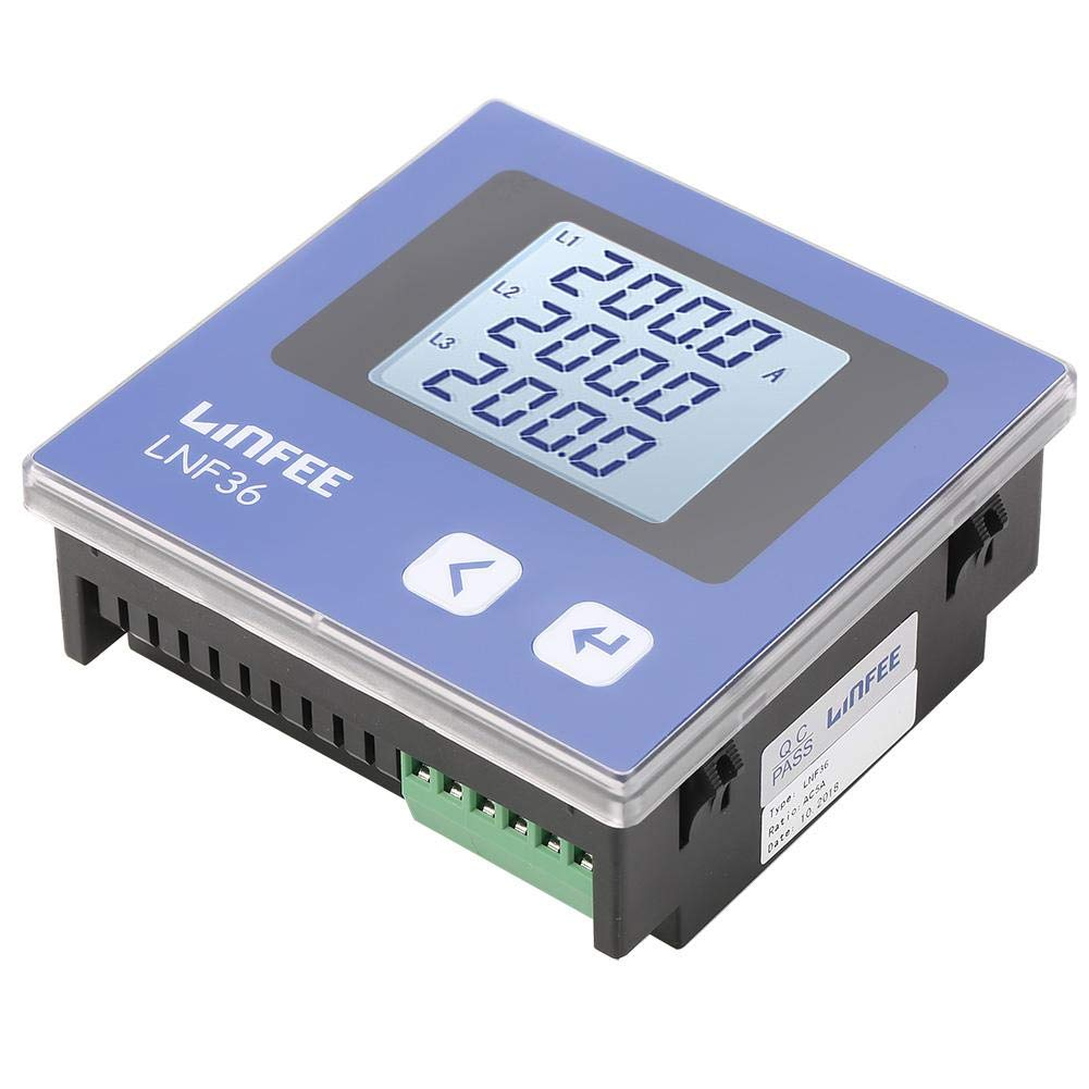 LNF36 Akozon 3 Phase AC Current Ammeter LCD Display Multifunction Electric Intelligent Power Meter Current Measurement Ammeter