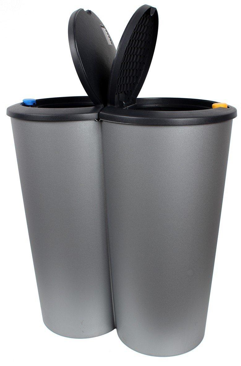 Formschöner Doppel Abfalleimer DUO BIN 50 L Mülleimer: Amazon.de ...