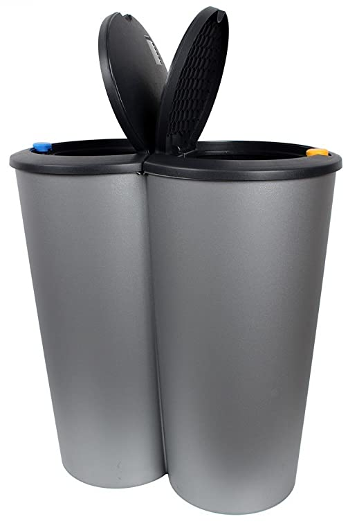 Formschöner Doppel Abfalleimer Duo Bin 50 L Mülleimer: Amazon.De