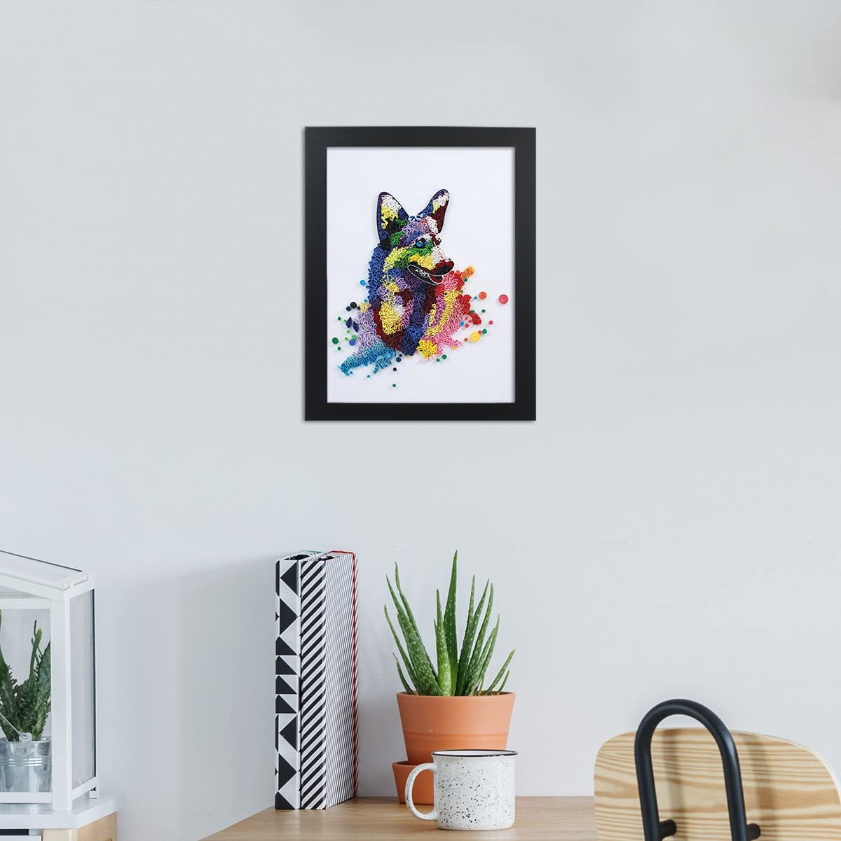 German Shepherd Handmade Paper Quilling Artwork A4 Size Framed 3D Stand Art as Unique Gift for Home Decor