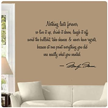 Nothing Lasts Forever By Marilyn Monroe Wall Decal Sticker Art Mural Home  Décor Quote