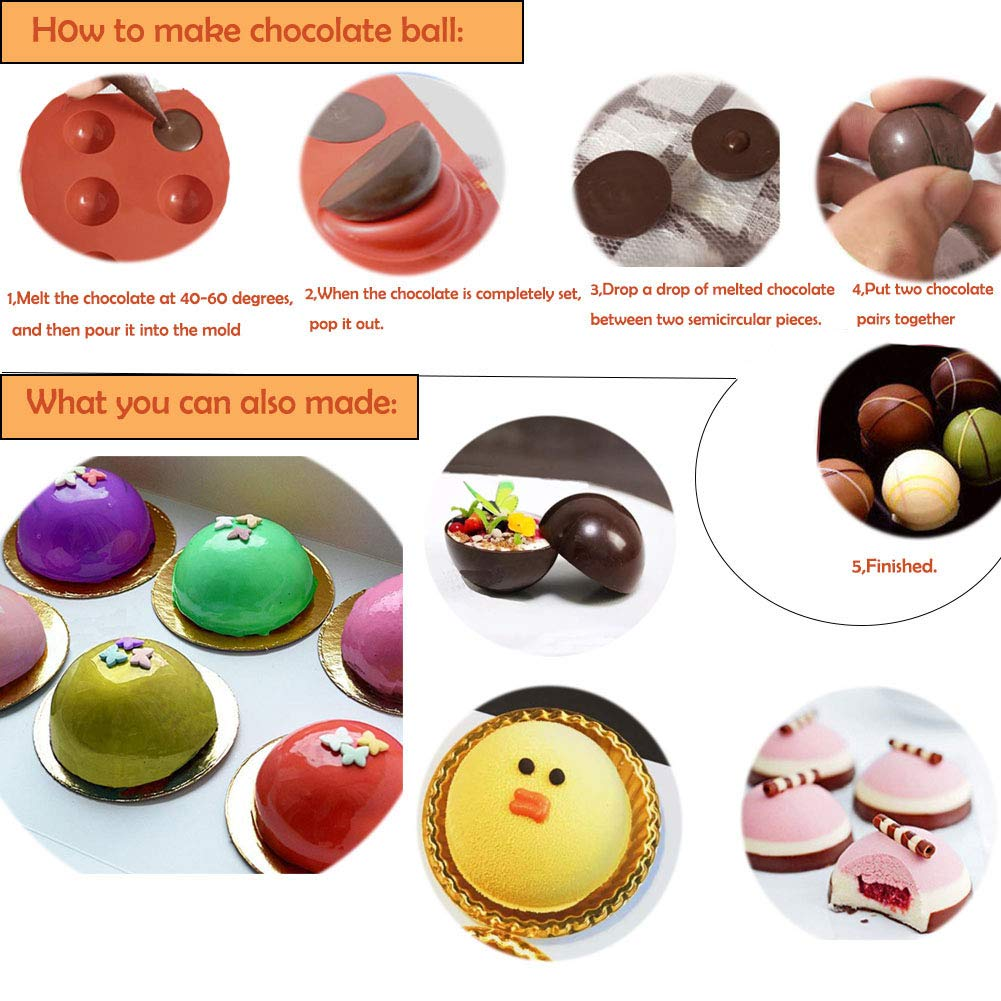 Amazon.com: Semicircle Silicone Mold, Shxmlf Half Sphere Chocolate, Candy and Gummy Mold Teacake Bakeware Set for Cake Decoration Mousse Dome Jelly Ice ...