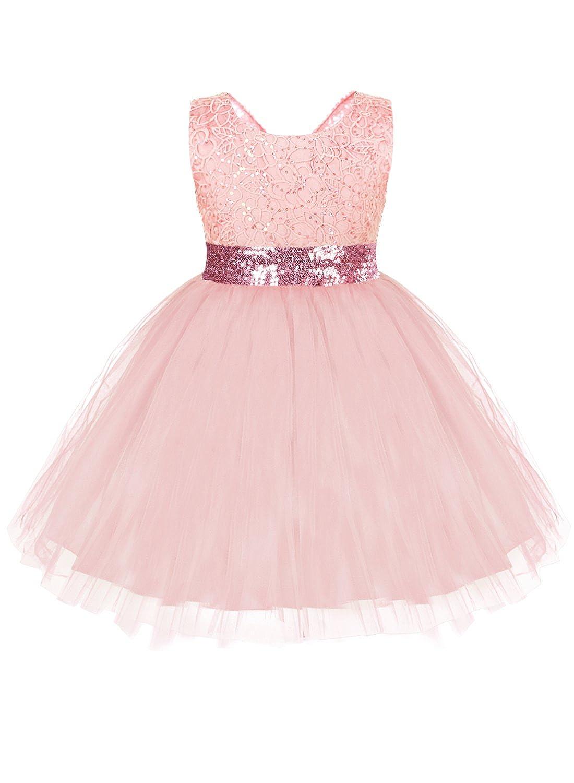 8c960fd182c2 Amazon.com  IBTOM CASTLE Baby Girls Sequin Bow Lace Wedding Tulle ...