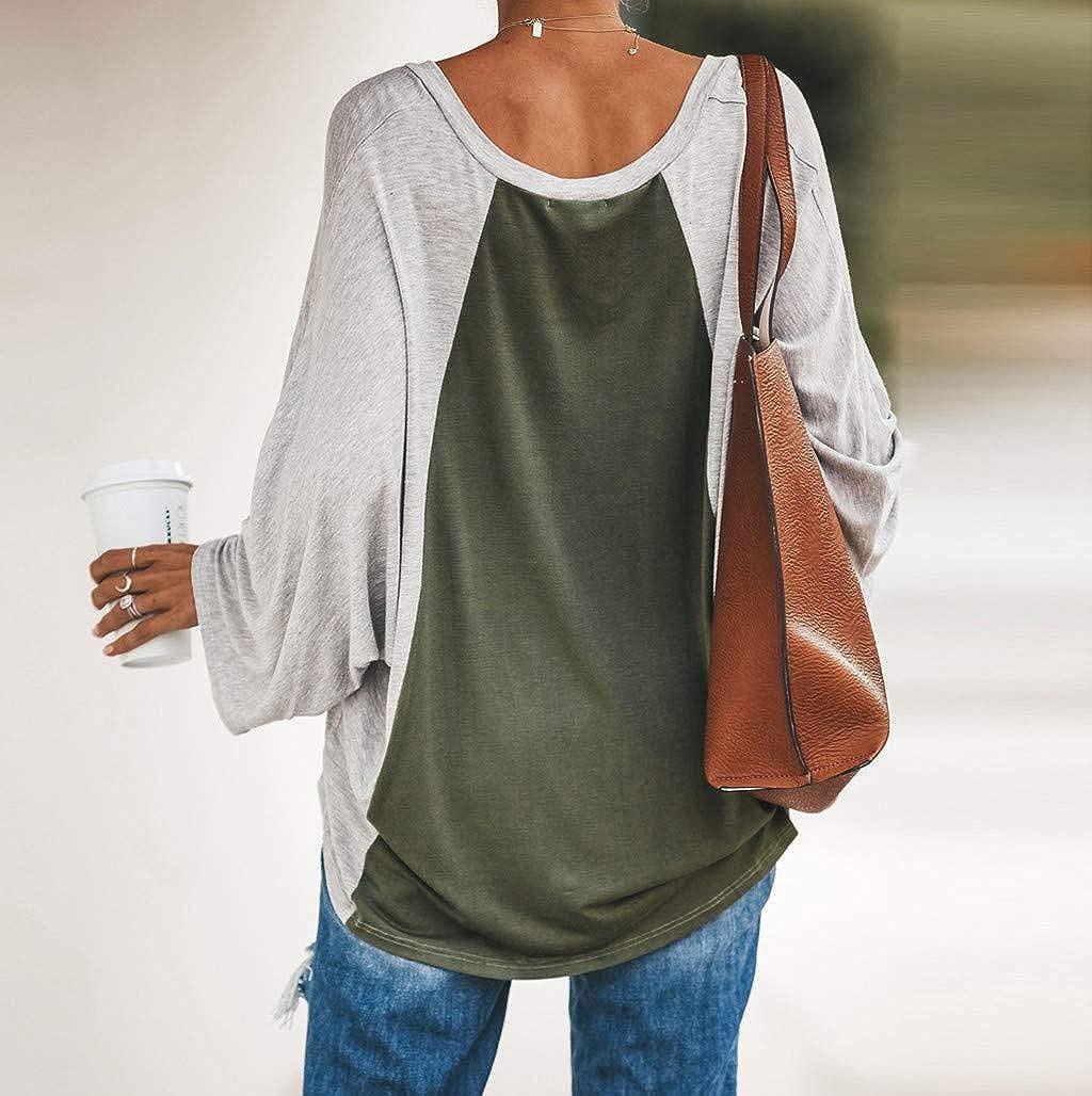 Oliviavan Frauen Lange /Ärmel N/ähte Mode Elengant Vintage Top T-Shirt Damen Oversize Oberteile T Shirt Pullover Shirts Bluse Tuniken