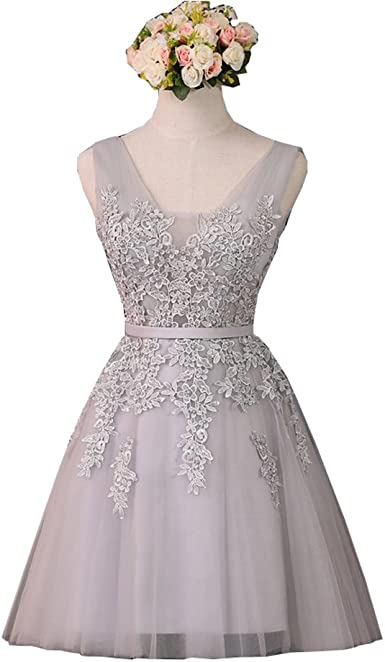QiJunGe Elegant High Low Homecoming Dress Lace Appliques Short Party Prom Gowns