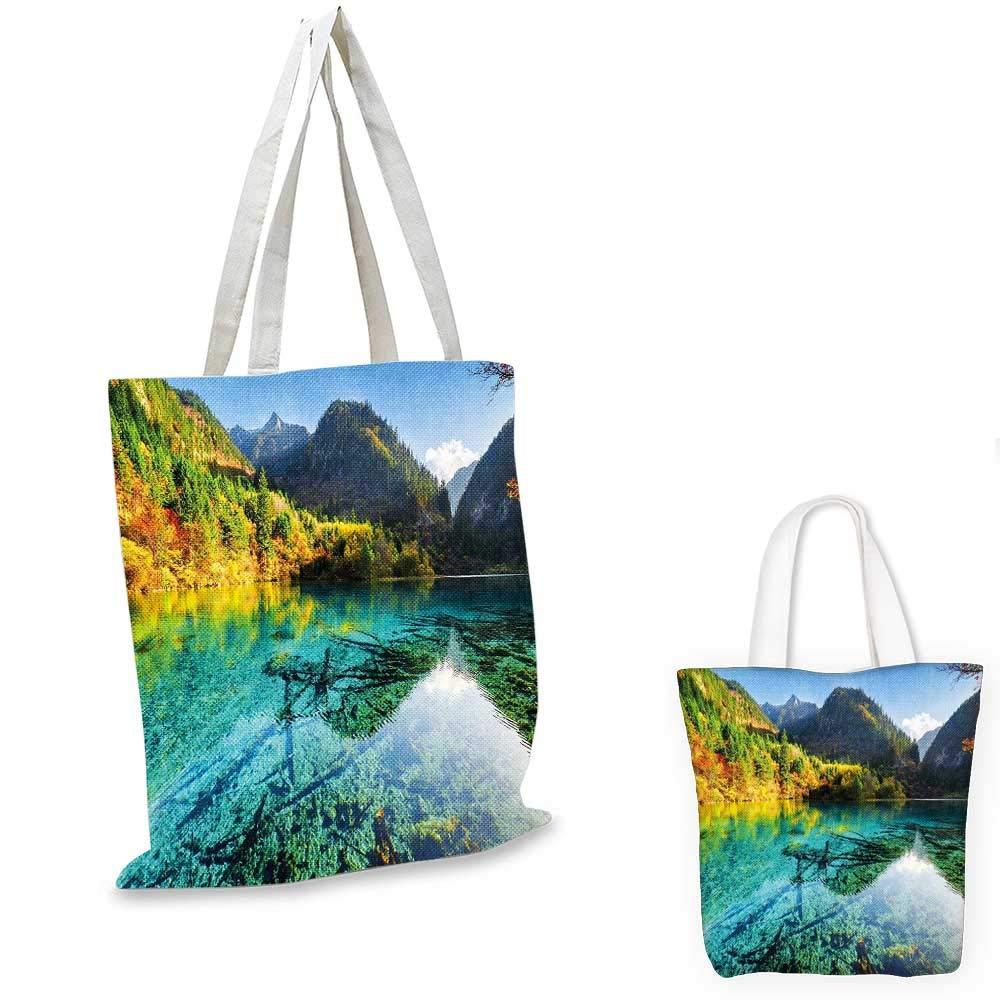Nature canvas messenger bag Idyllic Fall Landscape with a Creek among the Forest in National Park Valley Art shopping bag for women Green Amber 12x15-10