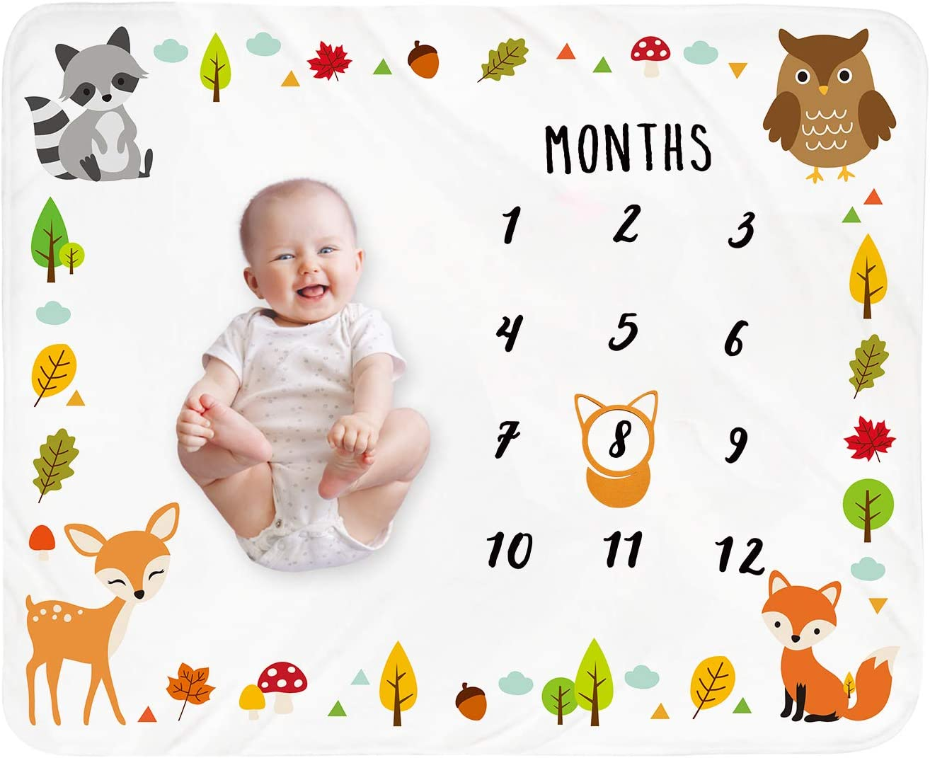 Baby Monthly Milestone Blanket Woodland - Newborn Month Blanket Unisex Neutral Personalized Shower Gift Woodland Animals Nursery Decor Photography Background Prop with Frame Large 51''x40''