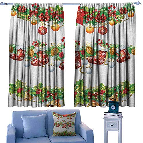 (Insulated Sunshade Curtain,Christmas Traditional Garland Designs with Flowers Socks and Bells Mistletoe Candy,Insulated with Curtains for Bedroom,W55x39L Inches Orange Red Green)