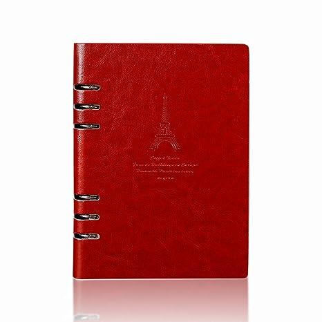 Jia Hu Torre A6 cuaderno anillas diario papel de diario de cuero cuaderno 95 hojas/