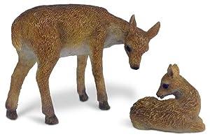 Mother Doe and Baby Fawn Miniature Fairy Garden Resin Deer Figurines 2 Piece Set
