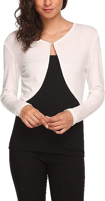 Palazen Women Long Sleeve Bolero Shrug Knit Cropped Cardigan Open Front Thin Jacket, S-XXL