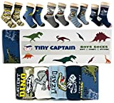 Tiny Captain Boys Socks Dinosaur Best Gift For 4-8 Year Old Boy 5 Pack Cotton Child's Sock (Green)