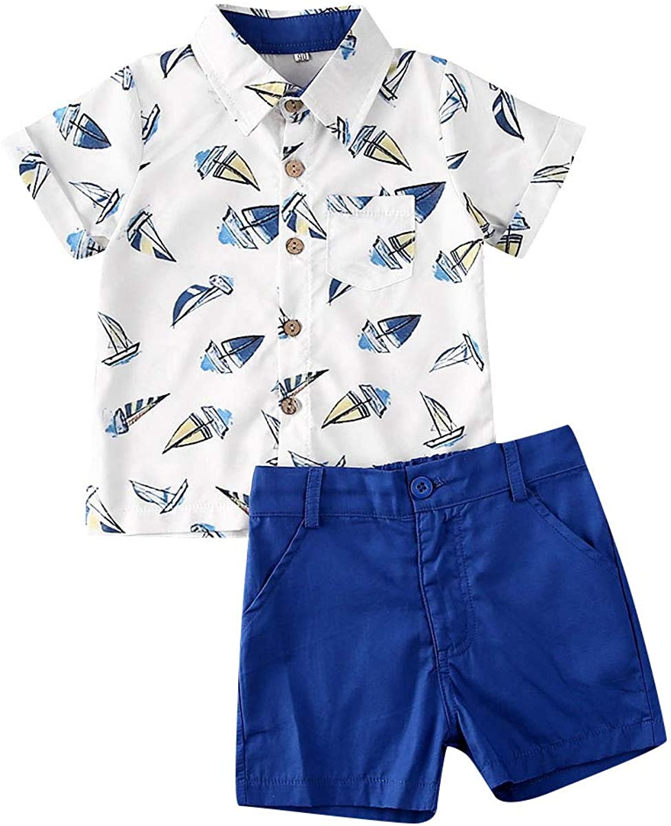 Toddler Baby Boys Summer Clothes Striped Tops Shirts+Shorts Pants 2pcs Gentlemen Outfits Playwear Set