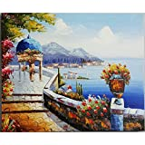 Oil Paintings On Canvas - For Home Decoration Cityscape Traditional Port Mediterranean - Artwork For Wall Decor (20'' x 24'', Framed) (M02)