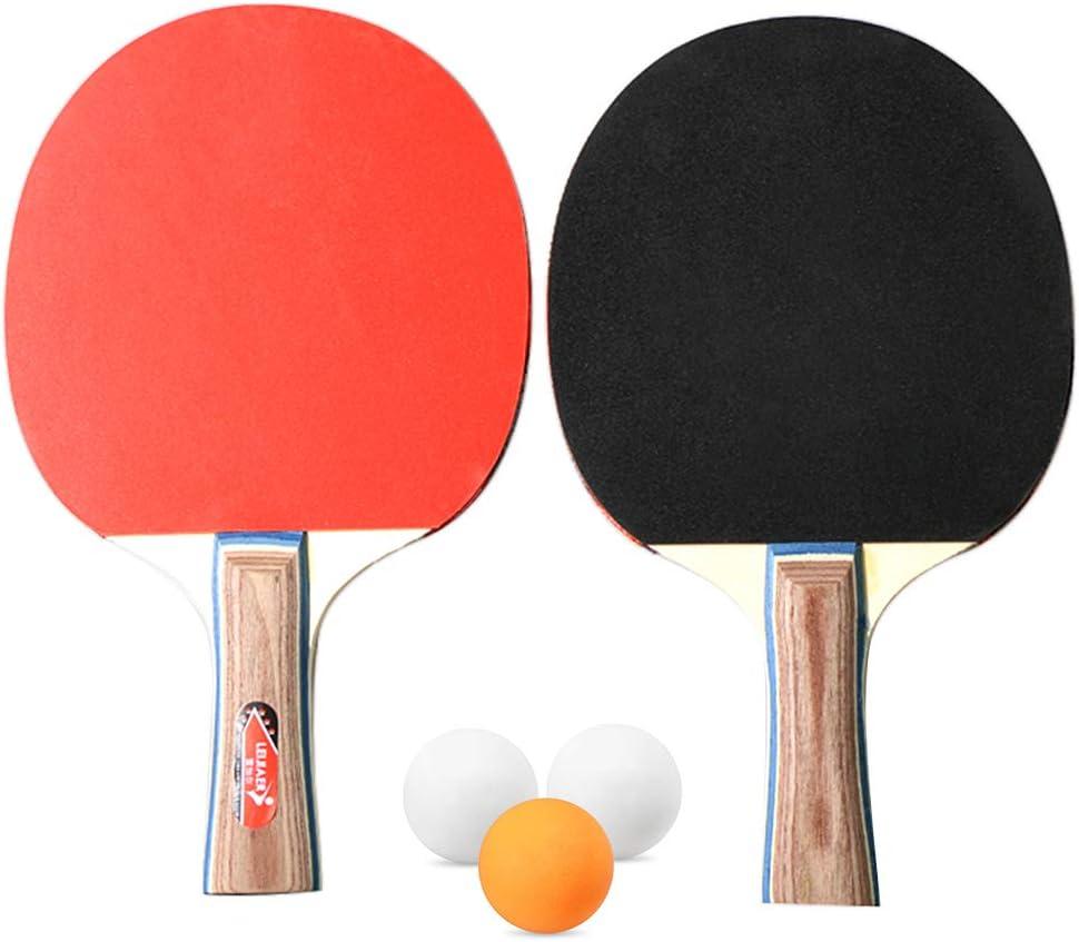 Walmeck- Tenis de Mesa Juego de 2 Jugadores 2 Raquetas de Palos de Tenis de Mesa con 3 Pelotas de Ping Pong para el hogar de la Escuela