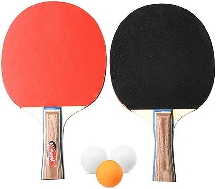 Walmeck- Tenis de Mesa Juego de 2 Jugadores 2 Raquetas de Palos de Tenis de Mesa con 3 Pelotas de Ping Pong para el hogar de la Escuela: Amazon.es: Deportes y aire libre