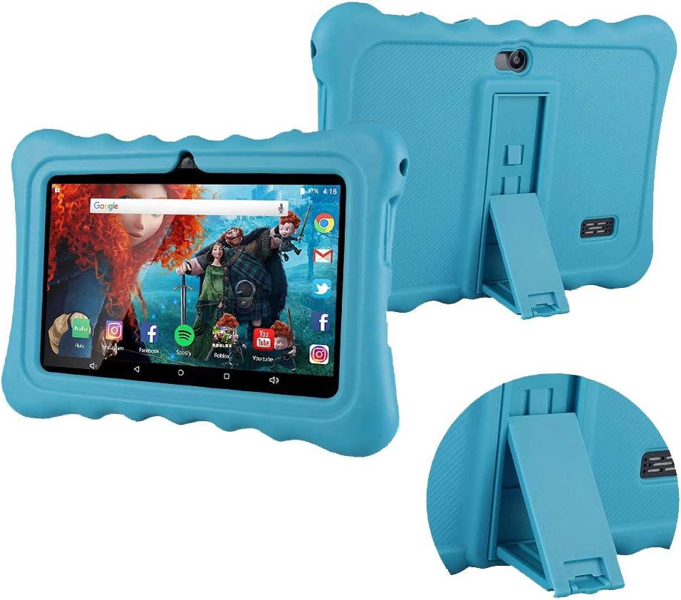 Tablet Case for 7 inch, Anti-Slip Soft Silicone Back Cover Case, Protective Thick Silicone, Shock Proof, Adjustable Back Clip, Light Weight