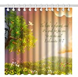 Wknoon 72 x 72 Inch Shower Curtain, Christian Bible Verses Scriptures Ecclesiastes Quotes with Nature Tree pof Life and Colorful Flowers Landscape
