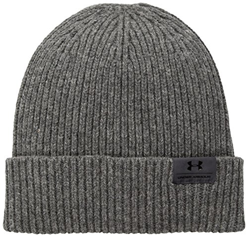 Under Armour Men's Charged Wool Beanie, True Gray Heather (025)/Black, One Size