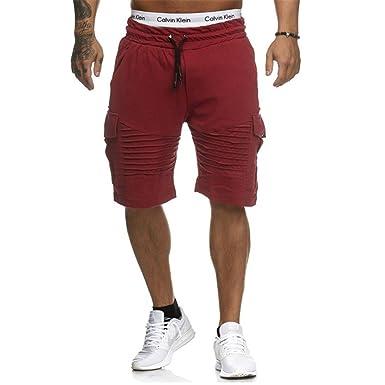 6c1ddfb117437c Juqilu Kurze Hose Herren - Shorts Sweatshorts Mode Einfarbig Elastische  Taille Hose mit Taschen Sommer Fitnesshose