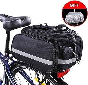 HHHKKK Alforjas Bici, Bolsa para Bici Diseñada para el Portaequipajes Trasero de la Bicicleta, Impermeable, Bolsa para Bicicleta, Asiento Trasero, Cesta de Transporte,Color Negro: Amazon.es: Deportes y aire libre