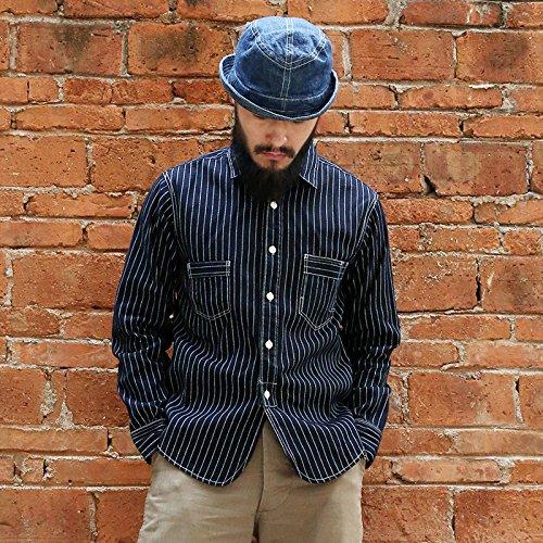 Men's Vintage Workwear – 1920s, 1930s, 1940s, 1950s Bronson Mens 1861 10oz Blue Wabash Selvage Denim Work Shirt $79.99 AT vintagedancer.com