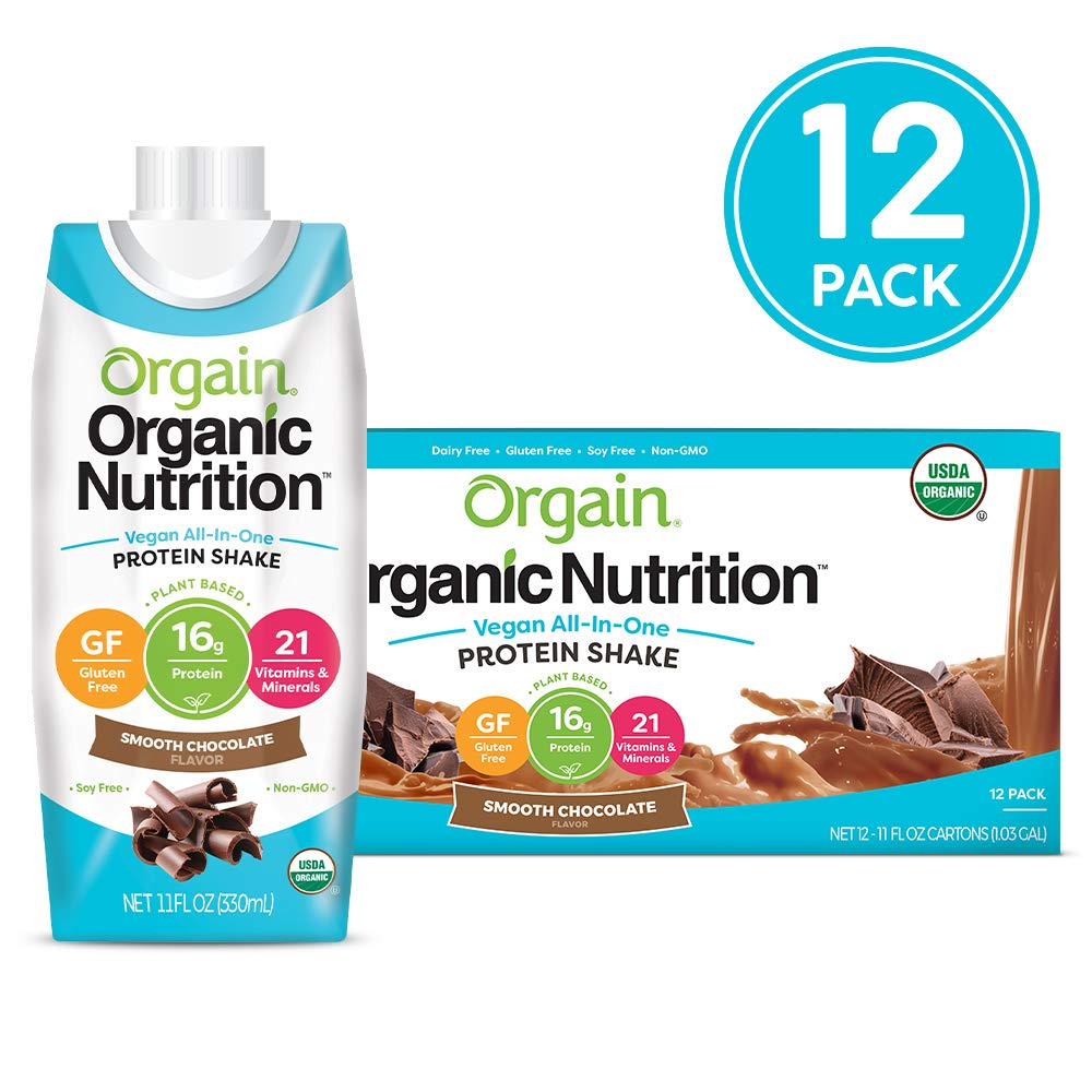 Orgain Organic Vegan Plant Based Nutritional Shake, Smooth Chocolate - Meal Replacement, 16g Protein, 21 Vitamins & Minerals, Non Dairy, Gluten Free, Lactose Free, Kosher, Non-GMO, 11 Ounce, 12 Count by Orgain
