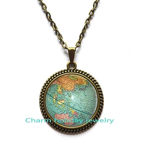 Amazon world map globe necklace globe pendant world map art world map globe necklace globe pendant world map art pendant teacher gift gumiabroncs Gallery