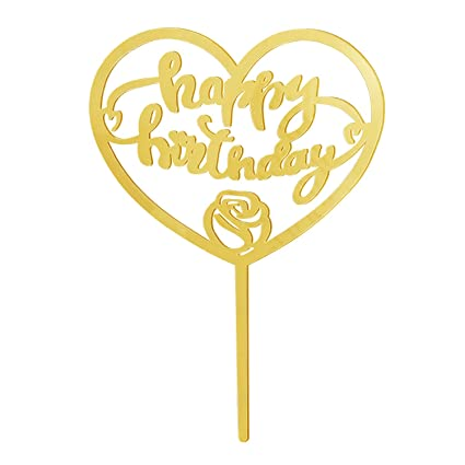 Happy Birthday Cake Topper, Rose Gold Acrylic, Calligraphy Bling Cake  Decoration Sign Party Banner (Acrylic Gold)