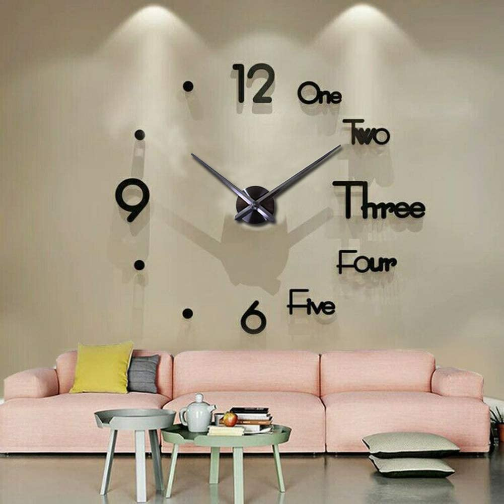 FASHION in THE CITY Large 3D Frameless Wall Clock Stickers DIY Wall Decoration for Living Room Bedroom Office (Black)