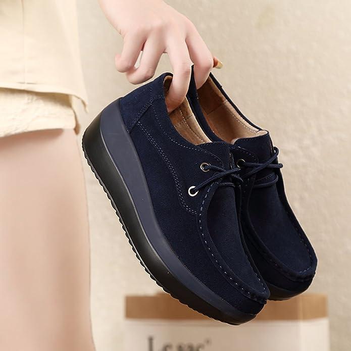 Z.SUO Mujer Mocasines de Cuero Gamuza Moda Loafers Casual Zapatos: Amazon.es: Zapatos y complementos