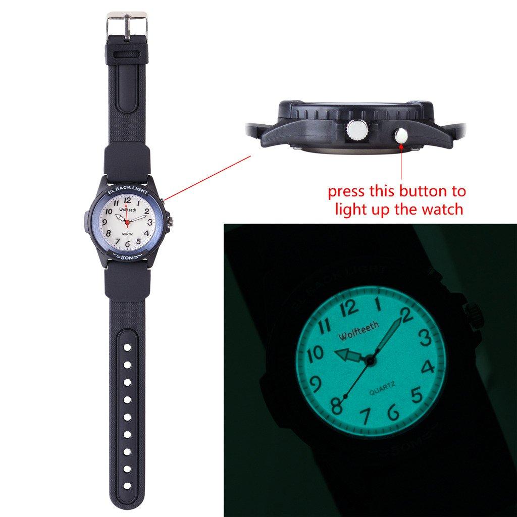 ca5ac9d8300e Wolfteeth Analog Quartz Boys Reloj De Pulsera con Segunda Mano Luminosa  Retroiluminación Dial Blanco Resistente Al Agua Moda Reloj Azul 305202   Amazon.es  ...
