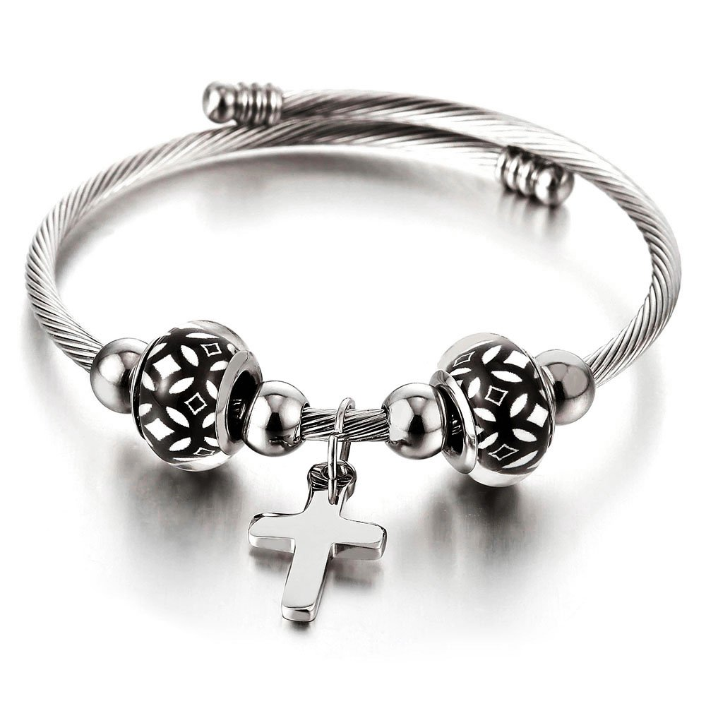 Cross and Murano Glass Charms Cuff Bracelet, Elastic Adjustable Stainless Steel Twisted Cable Bangle