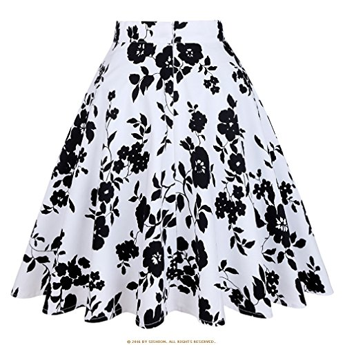Bleu Vert Haute Taille Blanc Rose Vintage 50S Skater Jupe Taille Blackwhite Femmes Jupes Dames Plus Floral La D't Midi Jupe xFwzEqvwC
