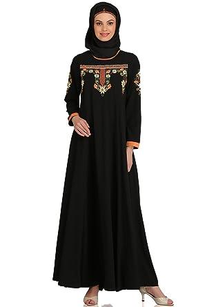 MyBatua Black Islamic Embroidered Eid, Party & Occasion Wear Abaya ...