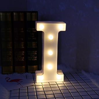 Letras decorativas encendidas, DINOWIN LED blanco Luz de decoración en forma de letra alfabética,