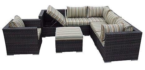 Amazon.com: LYQZ Sofá de ratán de lujo para jardín, muebles ...