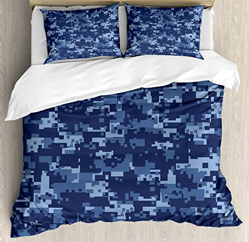 Ambesonne Camo Duvet Cover Set Queen Size, Retro Composition of Grunge Camouflage Pattern Print in Modern Blue Tones, Decorative 3 Piece Bedding Set with 2 Pillow Shams, Dark ()