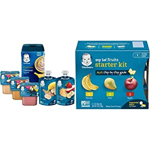 Gerber Purees 2nd Foods Pouches, Puree Tubs & Probiotic Cereal Assorted Variety Pack, 12 Count (Pack of 1) & Purees My 1st Fruits Starter Kit, 2 Ounce Tubs, Box of 6 (Pack of 2)