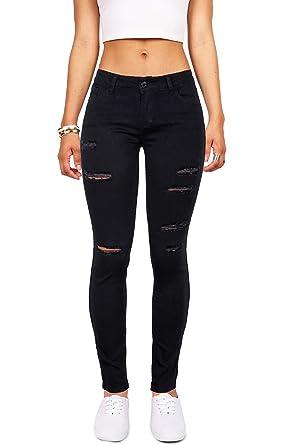 b630a1eabf3b83 Women's High Waisted Butt Lift Stretch Ripped Skinny Jeans Distressed Denim  Pants