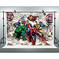 FHZON 10x7ft Superman Superhero Background for The Avengers Spiderman Hulk Captain America Photography Backdrop Themed Party YouTube Backdrops Photo Booth Studio Props PFH407