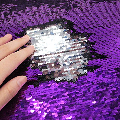 (Sequins Sewing Fabric Mermaid Flip Up Sequin Reversible Sparkly Fabric 1 Yard (36'' x 47'') for Dress Clothing Making Home Decor (Purple & Silver))