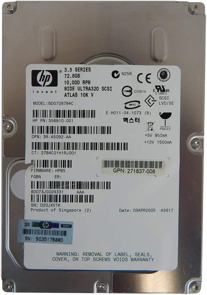 Tray HP 73GB SCSI 356910-001 A5092 BD07287B4C 10K U320 Hard Drive