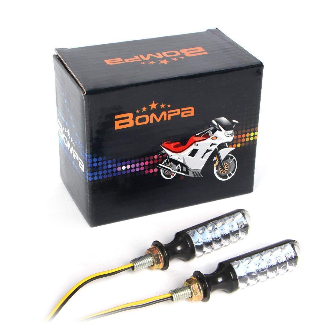 2pc Black 12V Motorcycle Led Blinkers Turn Signal Indicators Flashing LED Amber Yellow style 3