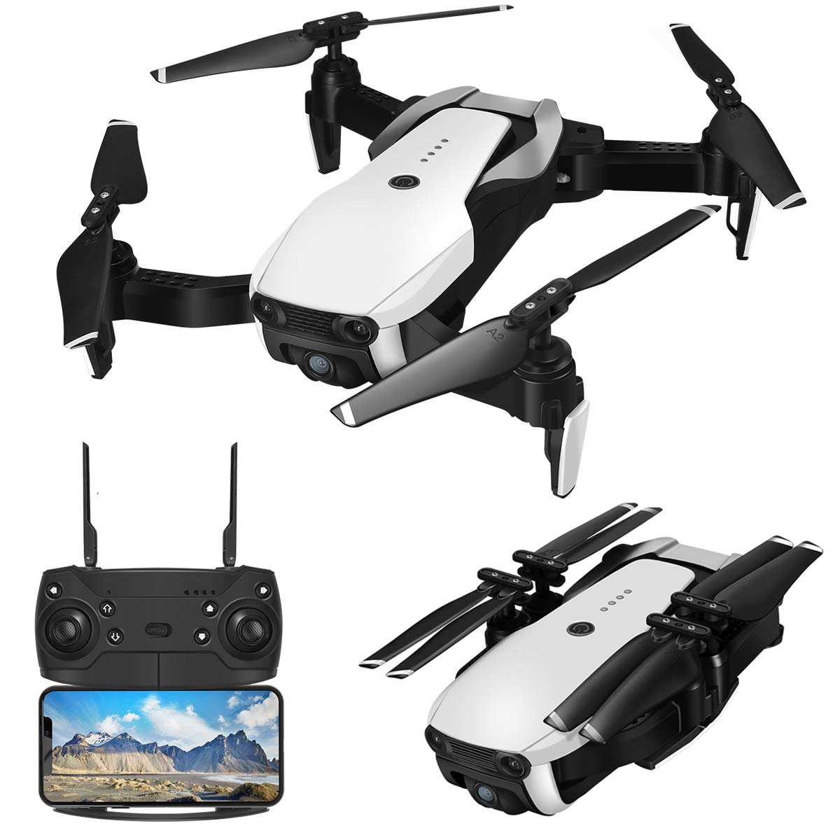 Drones with Camera 1080P for Adults,EACHINE E511 WiFi FPV Live Video Quadcopter with 120° FOV 1080P HD Camera, 17mins Long Flight Time Foldable RC Drone RTF - Altitude Hold, 3D Flip, APP Control by EACHINE (Image #1)