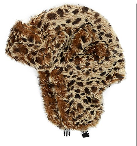 Lined Aviator (Womens Lined Aviator Style Faux Fur Winter Hat With Earflaps - Brown Leopard Animal Print)